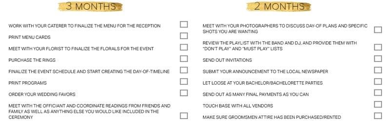 Wedding Preparation Checklist 3 Months