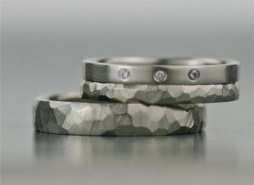 White Gold Three Diamond Ring and Wedding Bands Bridal Sets