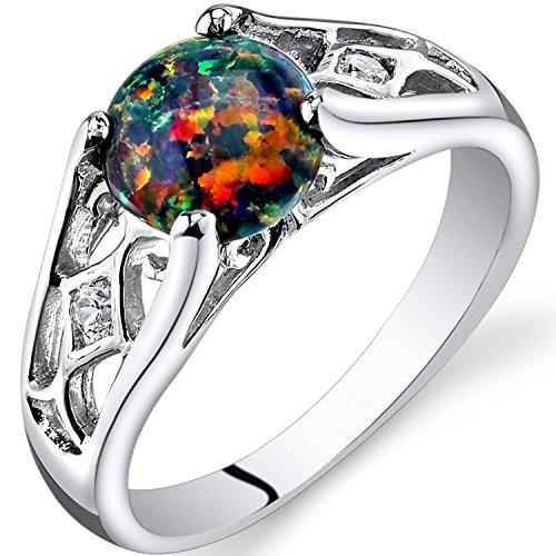 White Opal Ring Pear Cut