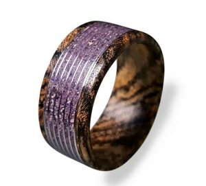 Wood Ring With Amethyst